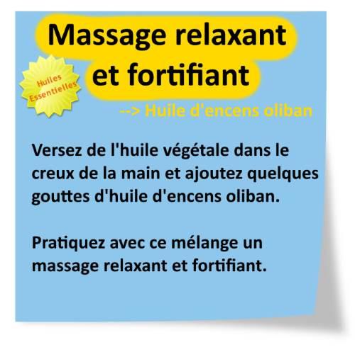 massage relaxant à l'huile essentielle encens oliban