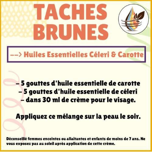 taches brunes avec les huiles essentielles de céleri et carotte