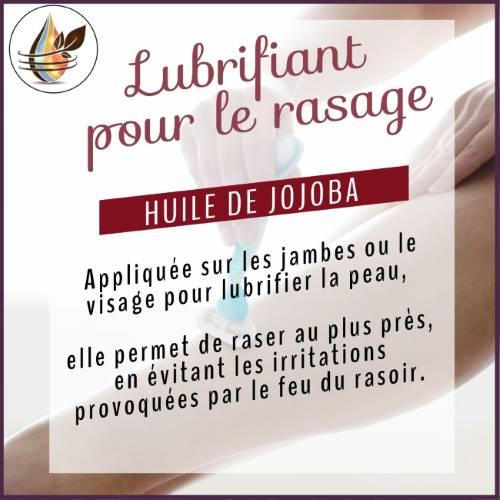 lubrifiant rasage des jambes avec l'huile de jojoba