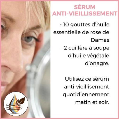 sérum anti vieillissement à l'huile d'onagre et rose de damas