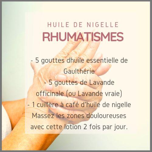 Huile de nigelle contre les rhumatismes