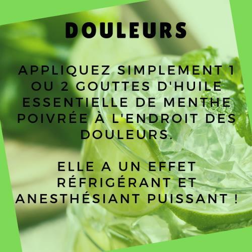 Supprimer une douleur avec l'huile essentielle de menthe poivrée