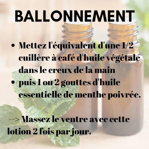 Comment utiliser l'huile essentielle de menthe poivrée pour des ballonnements