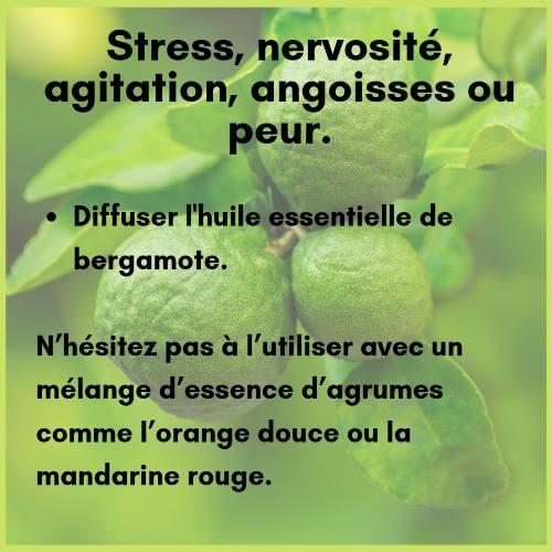 Diffusion huile essentielle de bergamote pour le stress