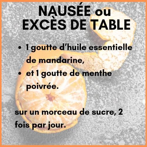 Nausée ou excès de table avec l'huile essentielle de mandarine