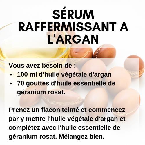 Sérum raffermissant pour la peau à l'huile d'argan et au géranium rosat.