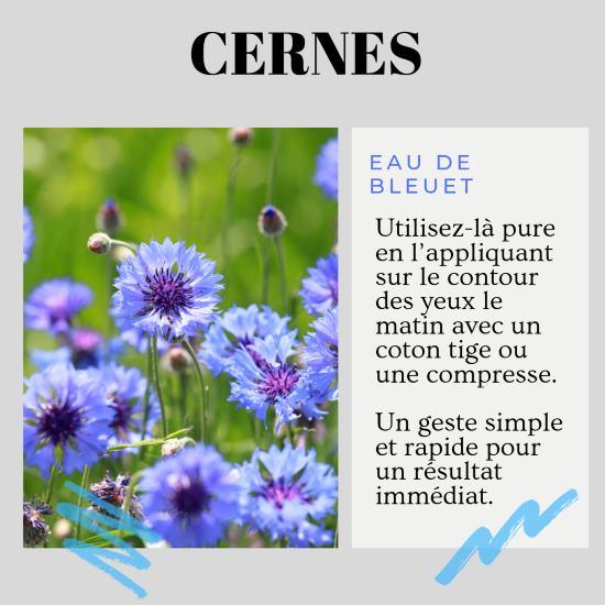 Eau florale de bleuet cotre les cernes