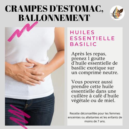 Huile essentielle de basilic exotique ballonnement et crampe d'estomac