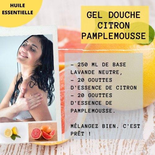 Gel douche aux huiles essentielles de citron et pamplemousse