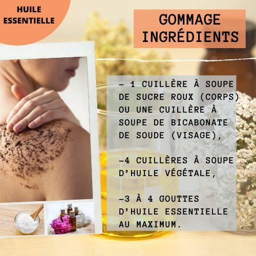 ingrédients pour gommage maison aux huiles essentielles