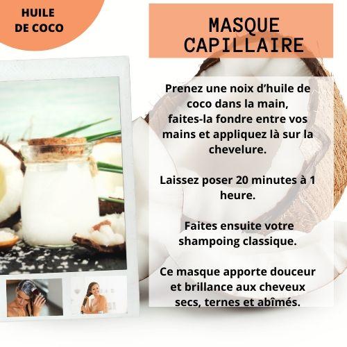 masque capillaire à l'huile de coco