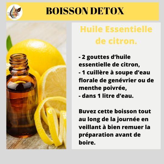 Boisson détox à l'huile essentielle de citron