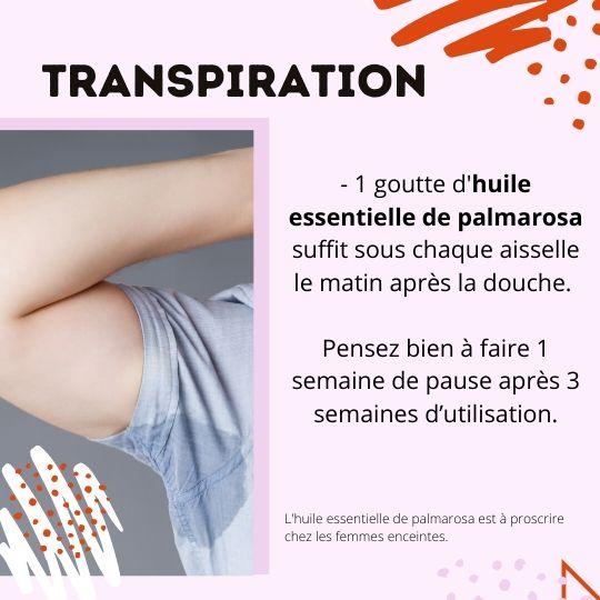 Huile essentielle de palmarosa pour al transpiration