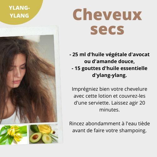 comment utiliser huile essentielle ylang-ylang pour les cheveux secs
