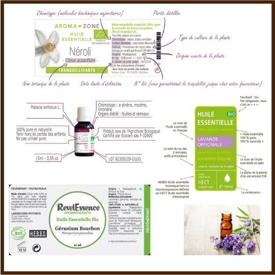 Etiquettes huile essentielle