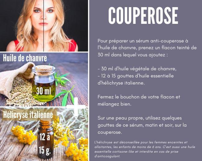 Couperose huile de chanvre et hélichryse
