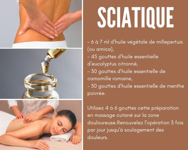 lotion de massage aux huile essentielles sciatique