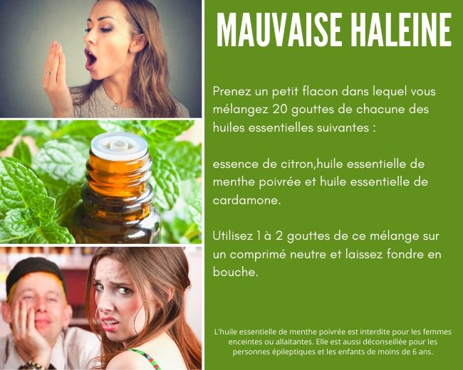 huiles essentielles de menthe poivrée, cardamone et citron pour la mauvaise haleine
