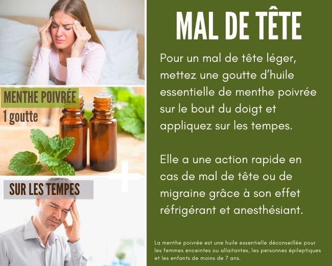 Supprimer un mal de tête avec l'huile essentielle de menthe poivrée