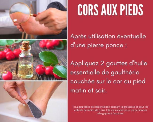 huile essentielle gaulthérie cor au pied