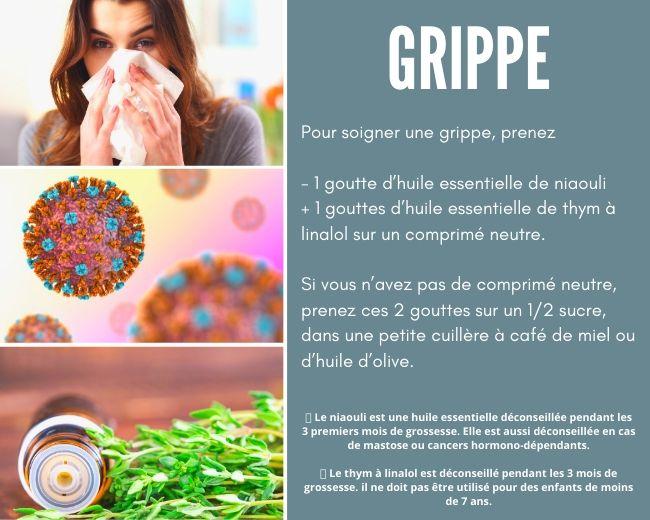 Grippe huiles essentielles niaouli thym à linalol