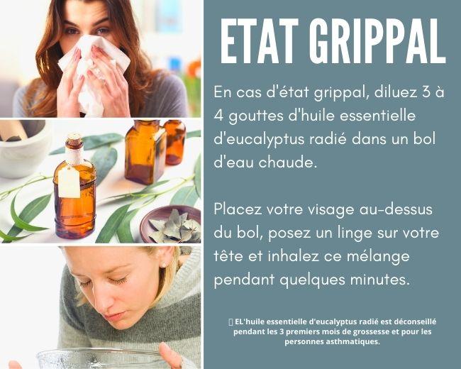 Huile essentielle eucalyptus radié état grippal