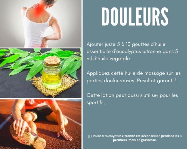 Atténuer des douleurs avec l'huile essentielle d'eucalyptus citronné