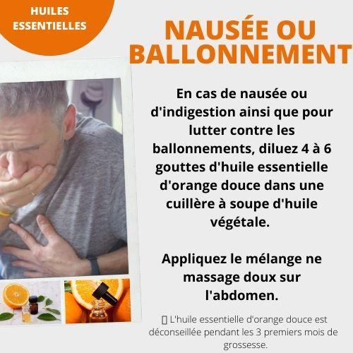 huile d'orange douce pour les nausées ou ballonnement