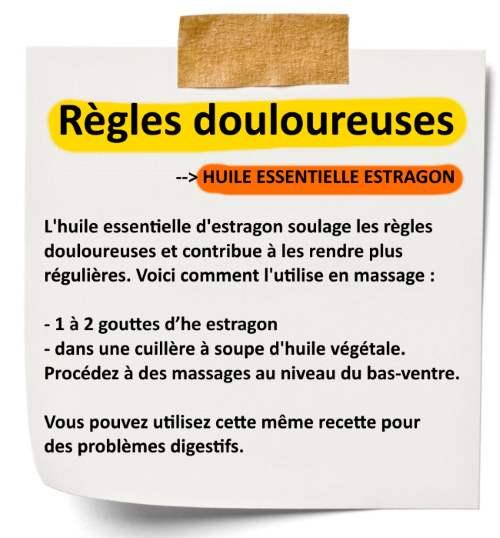 huile essentielle estragon règles douloureuses