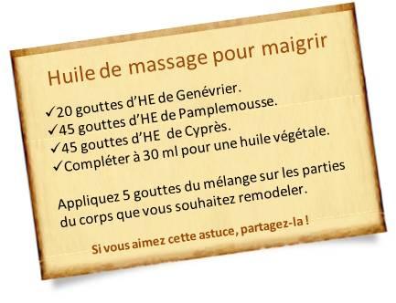 huile de massage aux huiles essentielles pour mincir