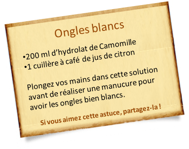 hydrolat de camomille ongles blancs