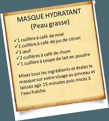 masque hydratant maison peau grasse