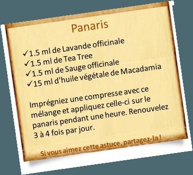 panaris lotion huiles essentielles