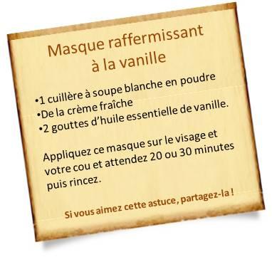recette masque visage raffermissant à la vanille