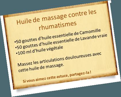 huile de massage contre les rhumatismes