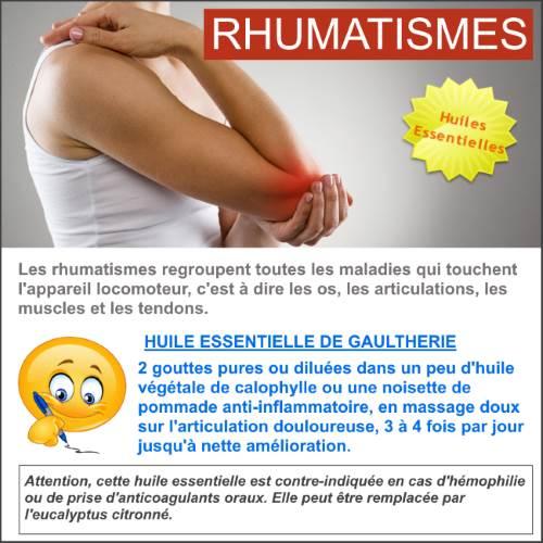 rhumatismes avec l'huile essentielle de gaulthérie