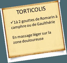 soigner un torticolis avec les huiles essentielles de Romarin à camphre ou la gaulthérie